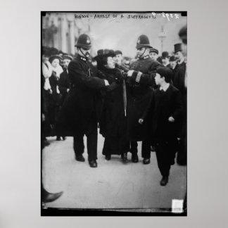 Detención de un Suffragette en Londres Inglaterra Póster