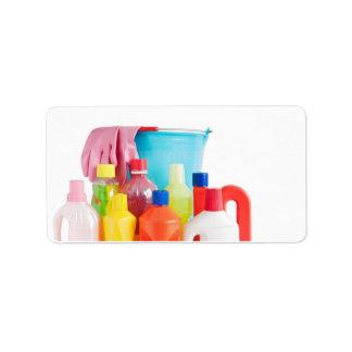 detergent bottles and bucket label