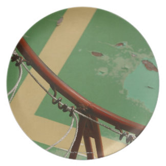 Deteriorating basketball hoop dinner plate