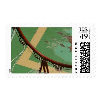 Deteriorating basketball hoop postage stamp