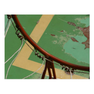 Deteriorating basketball hoop postcard