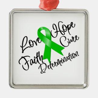 Determinación verde de la esperanza del amor de la adorno navideño cuadrado de metal