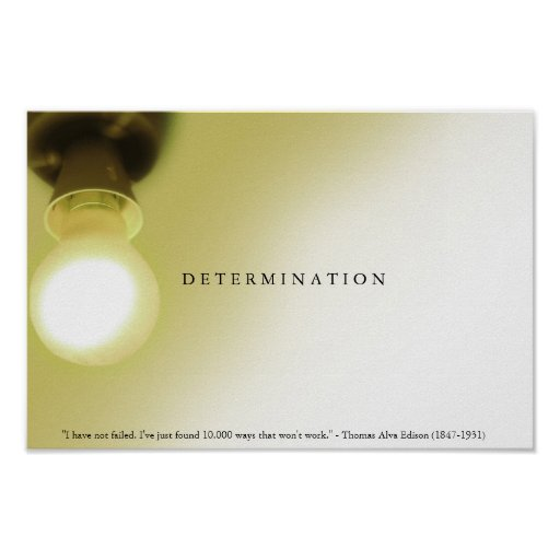 DETERMINATION Motivational Light Bulb Edison Print