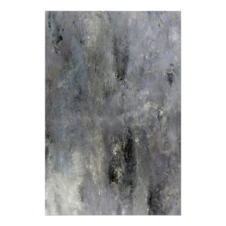 'Determine' Grey and Beige Abstract Art Poster