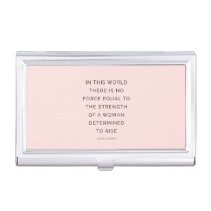 Motivational quotes business card holders cases zazzle determined woman inspirational quote pink black business card holder colourmoves