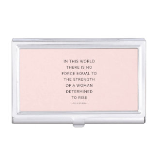 Determined Woman Inspirational Quote Pink Black Business Card Holder