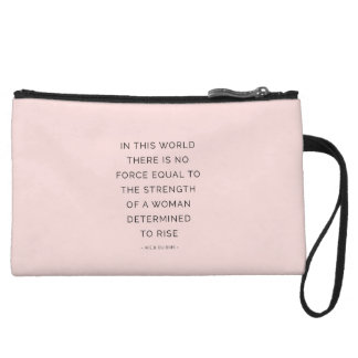 Determined Woman Inspirational Quote Pink Black Wristlet