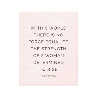 Determined Woman Inspiring Quotes Pink Black Canvas Print