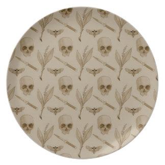 Deths Head pattern Melamine Plate