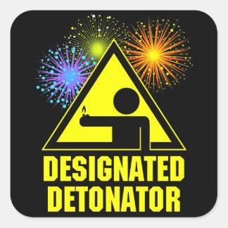 Detonador señalado de los fuegos artificiales pegatina cuadrada