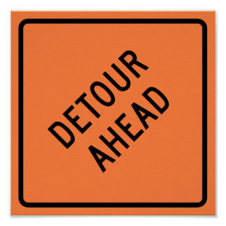 Detour Construction Highway SIgn