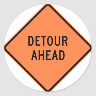 Detour Construction Highway SIgn Classic Round Sticker