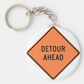 Detour Construction Highway SIgn Keychain