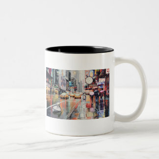 """""""Detour"""" Pelican in New York Watercolor Two-Tone Coffee Mug"""
