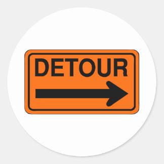 detour right orange sign classic round sticker