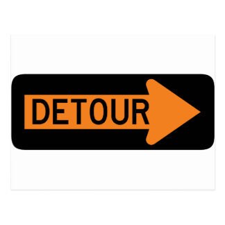 Detour Right Street Sign Postcard