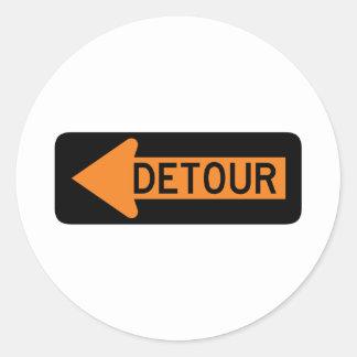 Detour Street Sign Classic Round Sticker