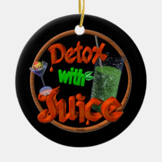 Detox with Juice on 100+ products Double-Sided Ceramic Round Christmas Ornament