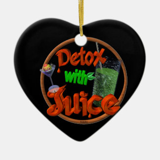 Detox with Juice on 100+ products Double-Sided Heart Ceramic Christmas Ornament