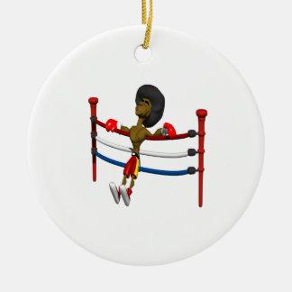 Detrás contra las cuerdas ornamento para arbol de navidad