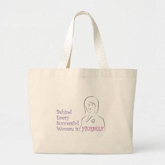 Detrás de cada mujer acertada es ella misma bolsas lienzo