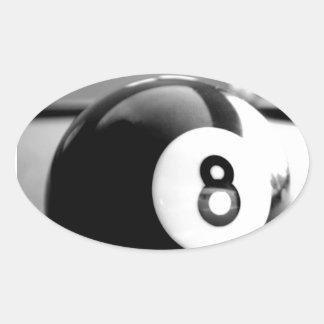 Detrás del 8-Ball bola ocho Calcomanía Oval Personalizadas