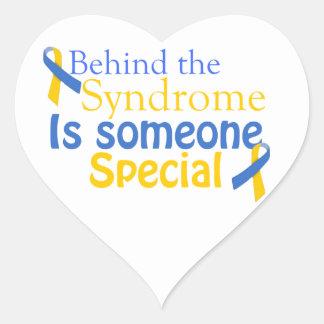 Detrás del síndrome es alguien especial pegatina en forma de corazón