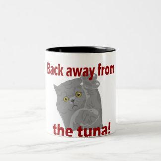 Detrás lejos de gato del atún taza dos tonos