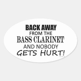 Detrás lejos del clarinete bajo pegatina ovaladas personalizadas
