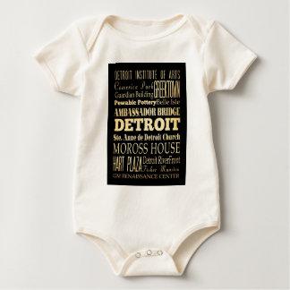 Detriot City of Michigan State Typography Art Baby Bodysuit
