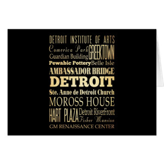 Detriot City of Michigan State Typography Art Card