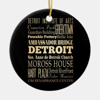 Detriot City of Michigan State Typography Art Ceramic Ornament