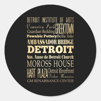 Detriot City of Michigan State Typography Art Classic Round Sticker