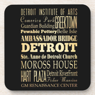Detriot City of Michigan State Typography Art Coaster