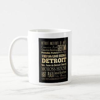 Detriot City of Michigan State Typography Art Coffee Mug