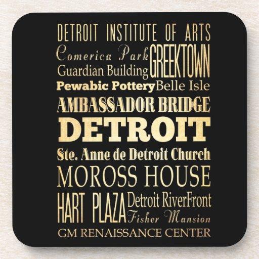 Detriot City of Michigan State Typography Art Beverage Coasters