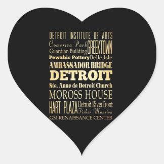 Detriot City of Michigan State Typography Art Heart Sticker