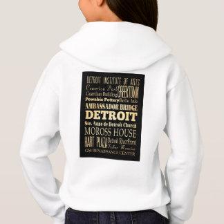 Detriot City of Michigan State Typography Art Hoodie