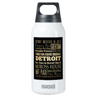 Detriot City of Michigan State Typography Art Insulated Water Bottle