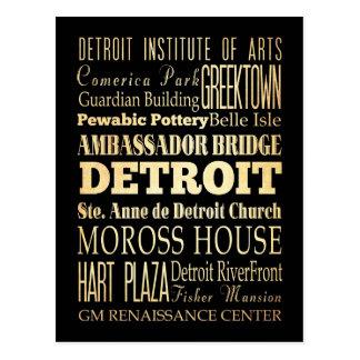 Detriot City of Michigan State Typography Art Postcard