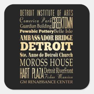 Detriot City of Michigan State Typography Art Square Sticker