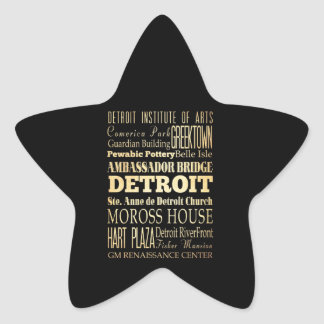 Detriot City of Michigan State Typography Art Star Sticker