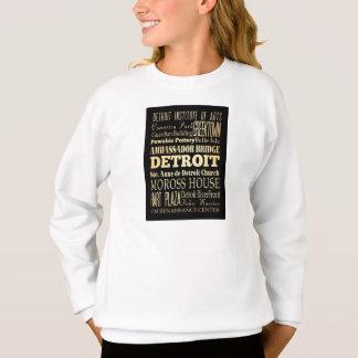 Detriot City of Michigan State Typography Art Sweatshirt