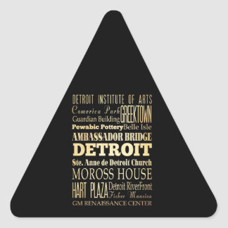 Detriot City of Michigan State Typography Art Triangle Sticker