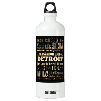 Detriot City of Michigan State Typography Art Water Bottle