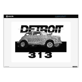 """Detroit 313 Area Code Skecth Hot Rod Chevy wow 15"""" Laptop Decal"""