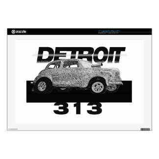 Detroit 313 Area Code Skecth Hot Rod Chevy wow Laptop Skin