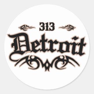 Detroit 313 pegatinas redondas