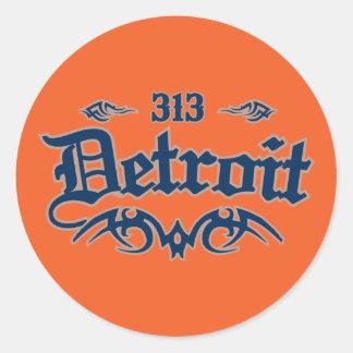 Detroit 313 etiqueta redonda