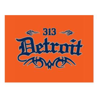 Detroit 313 postcard